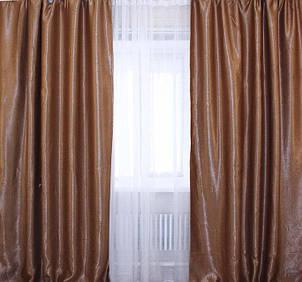 Ткань блекаут софт, с атласной основой. Высота 2,8м. Цвет коричневый. 095ш, фото 2