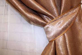 Ткань блекаут софт, с атласной основой. Высота 2,8м. Цвет коричневый. 095ш, фото 3
