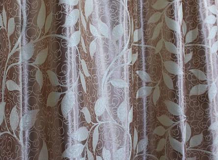 """Двусторонняя ткань блэкаут """"Листочки"""". Высота 2,8м. Цвет кофейный с бежевым. 449ш, фото 2"""
