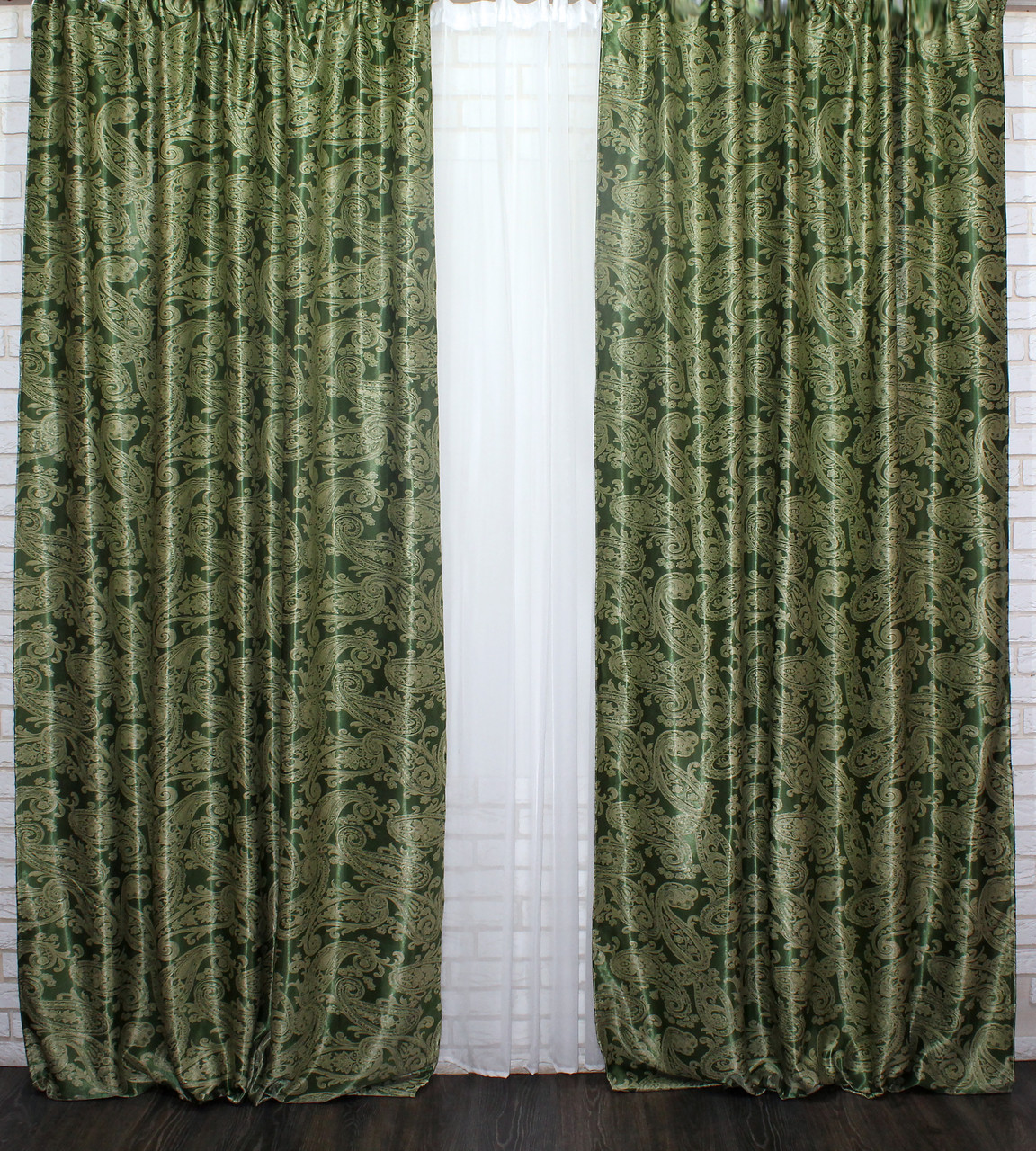 """Двусторонняя ткань блэкаут """"Дамаск"""". Высота 2,8м. Цвет Зеленый. 566ш"""