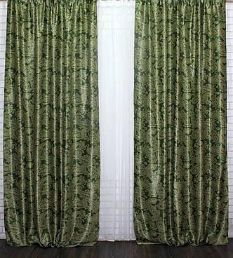 """Двусторонняя ткань блэкаут """"Дамаск"""". Высота 2,8м. Цвет Зеленый. 566ш, фото 2"""