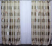 "Комплект готовых штор  блэкаут (2шт. 1,5х2,7м.), ""Ньюпорт"". Цвет бежевый+коричневый 365ш 30-103, фото 2"