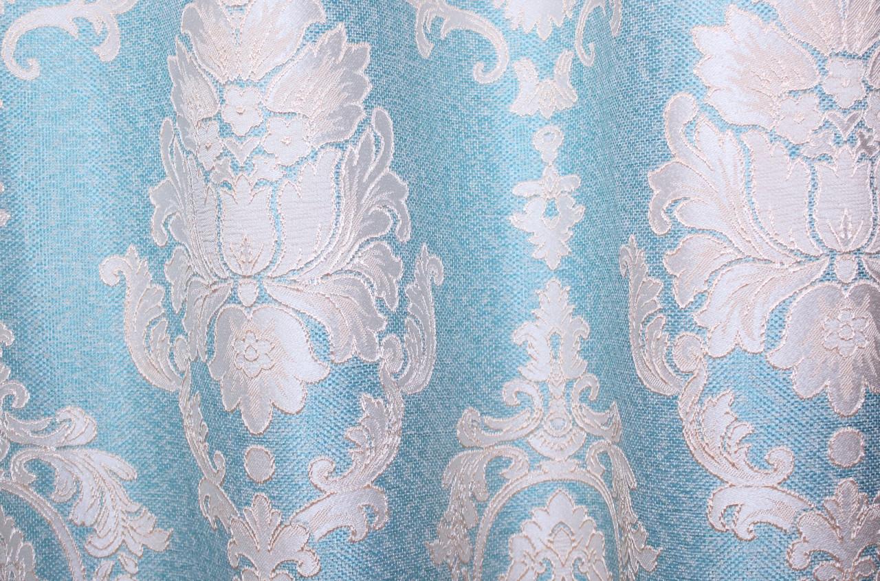 """Ткань лен коллекция """"Корона"""".Высота 2.8м. Цвет бирюзовый 456ш."""
