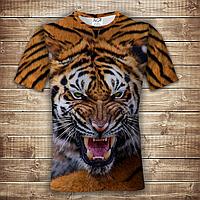 Футболка 3D Оскал тигра, фото 1