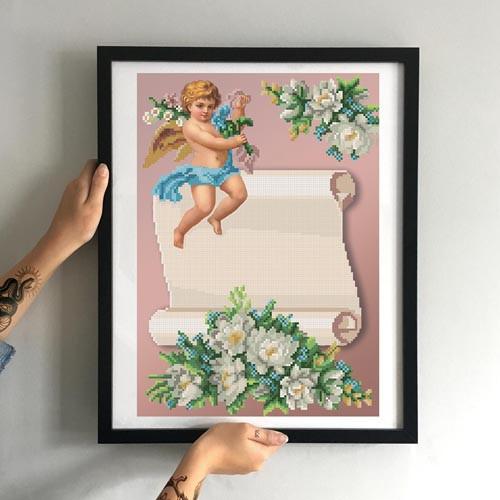 Картина Ангелок с цветочком. Для девочек. ММДМ-003 [Материал: Габардин подклеенный флизелином]