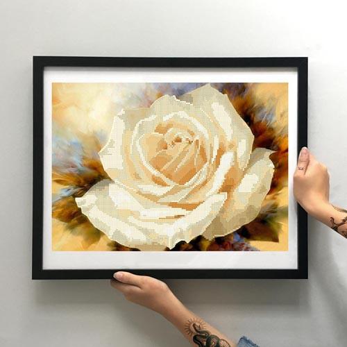 Картина Кремовая роза ММЦ-010 [Материал: Габардин подклеенный флизелином]