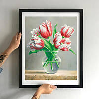 Картина Тюльпаны Сорбет ММН-012 [Материал: Габардин подклеенный флизелином]