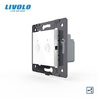 Механизм сенсорный проходной выключатель Livolo Sense 2 канала белый (782000411)
