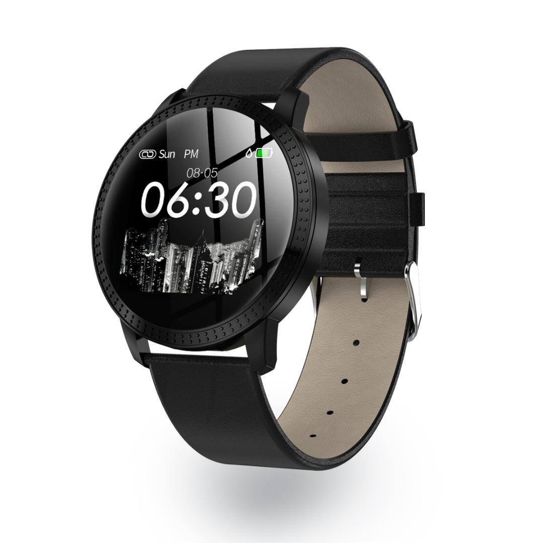 Умные смарт часы Lemfo CF18 leather с измерением давления (Черный)