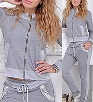 Турецкий женский спортивный костюм на молнии брендовый стильный со стразами № 8816 серый