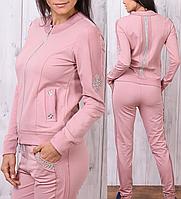 Женский спортивный костюм на молнии брендовый стильный пр-во Турция со стразами № 8816 пудра