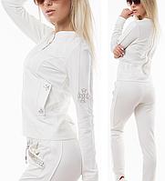 Женский спортивный костюм на молнии брендовый стильный пр-во Турция со стразами № 8816 молочный