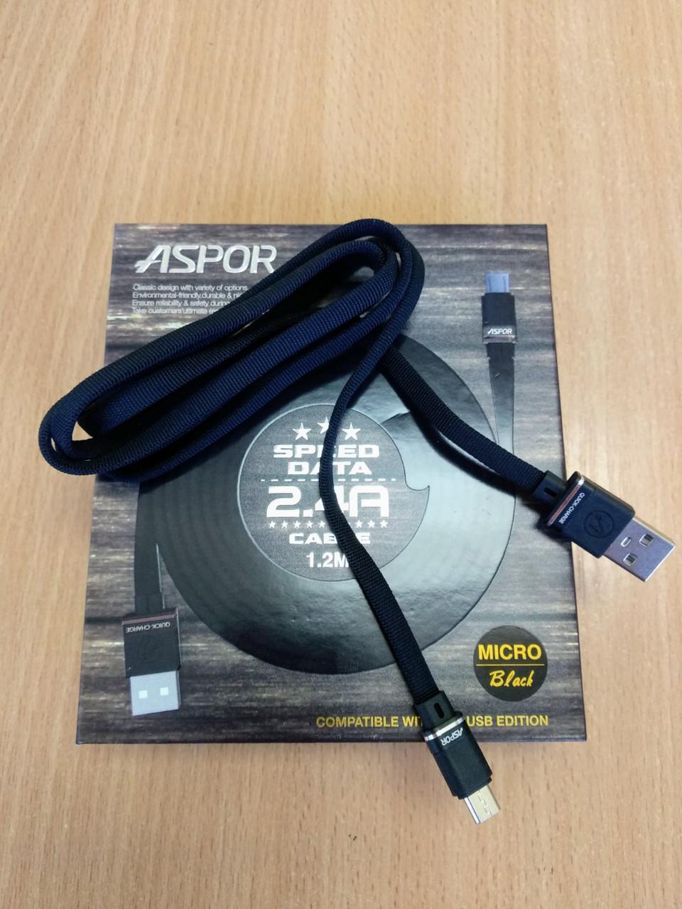 Кабель Usb-cable Micro Usb Aspor A135 2.4A 1.2m orig 100% (плоский, тканевый шнур) Black