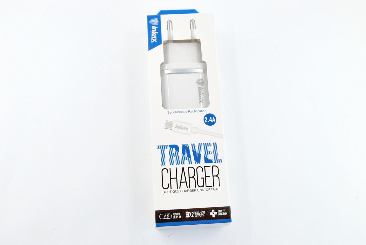Зарядное устройство INKAX CD-11 2.4A 2 Usb + кабель Micro USB White