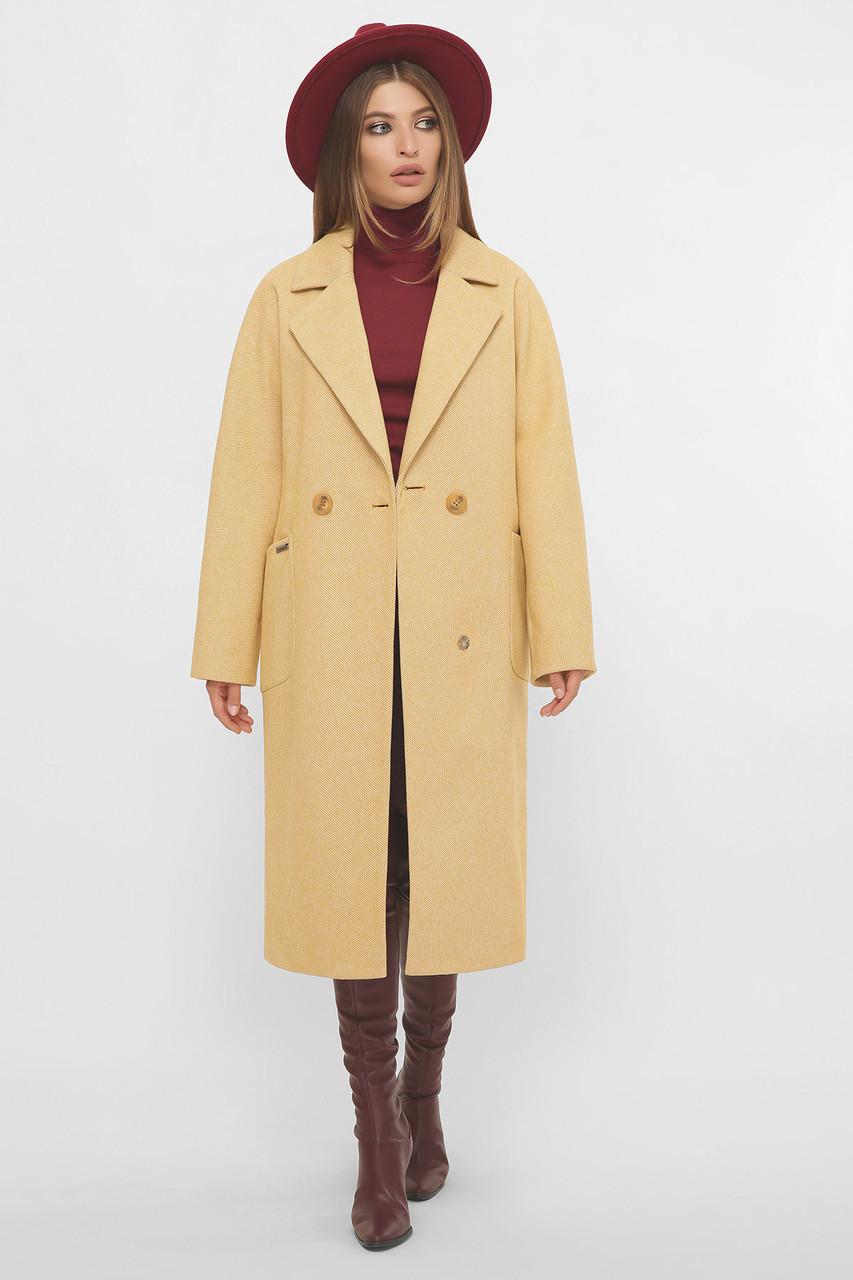 Пальто женское демисезонное удлиненное горчичное MS-265