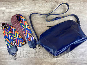 Женская сумка ручной работы из натуральной кожи Цветная ручка Тип2 Синий лак