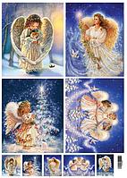 Декупажная карта Рождественские ангелы
