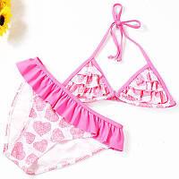 Детский купальник раздельный с оборками, розовый, опт, фото 1