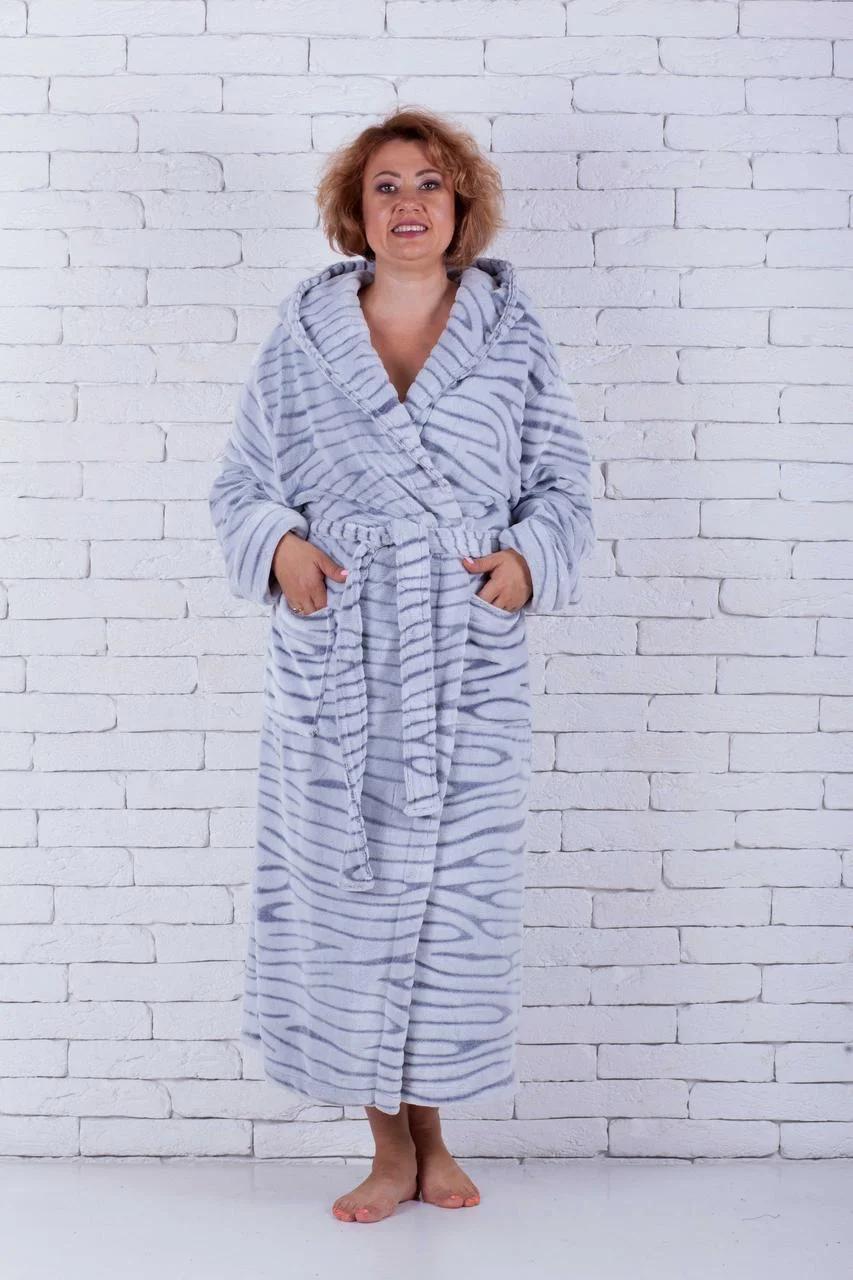 Махровый халат с капюшоном большие размеры Шиншила серый