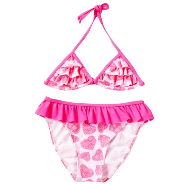 Детский купальник раздельный с оборками, розовый