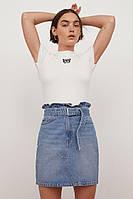 Стильная женская джинсовая юбка с ремнем НМ, фото 1