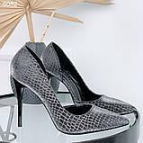 Женские туфли лодочки питон серебристые, фото 4