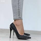 Женские туфли лодочки питон серебристые, фото 5