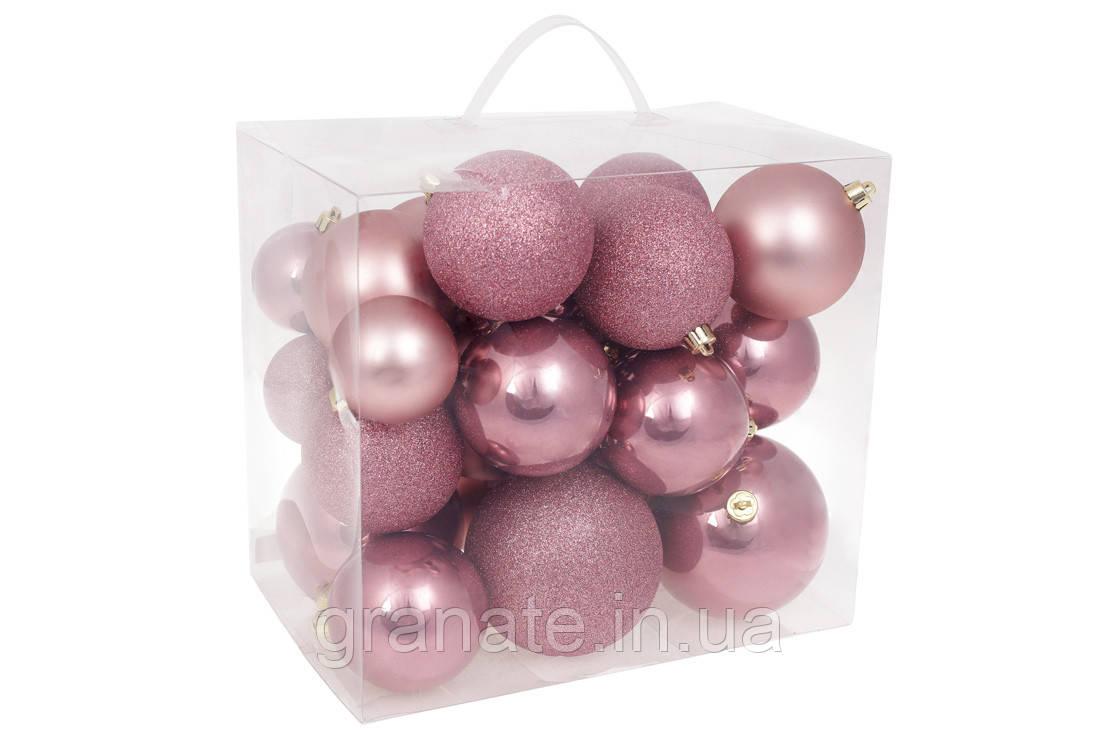 """Набор елочых шаров """"Розовый бархат"""" 26 шт, 10см, 8см, 6см: перламутр, матовый, глиттер"""