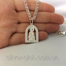 3008 Ладанка Богородица с камнями  серебро 925 пробы