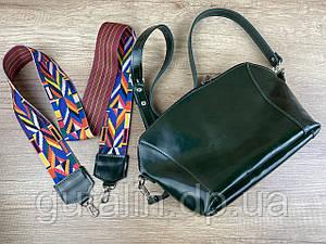 Женская сумка ручной работы из натуральной кожи Цветная ручка Тип2 Зеленый лак