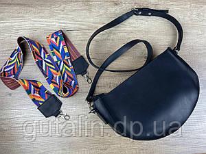 Женская сумка ручной работы из натуральной кожи Цветная ручка Тип1 цвет Черный
