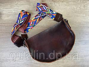 Женская сумка ручной работы из натуральной кожи Цветная ручка Тип1 цвет Коричневый