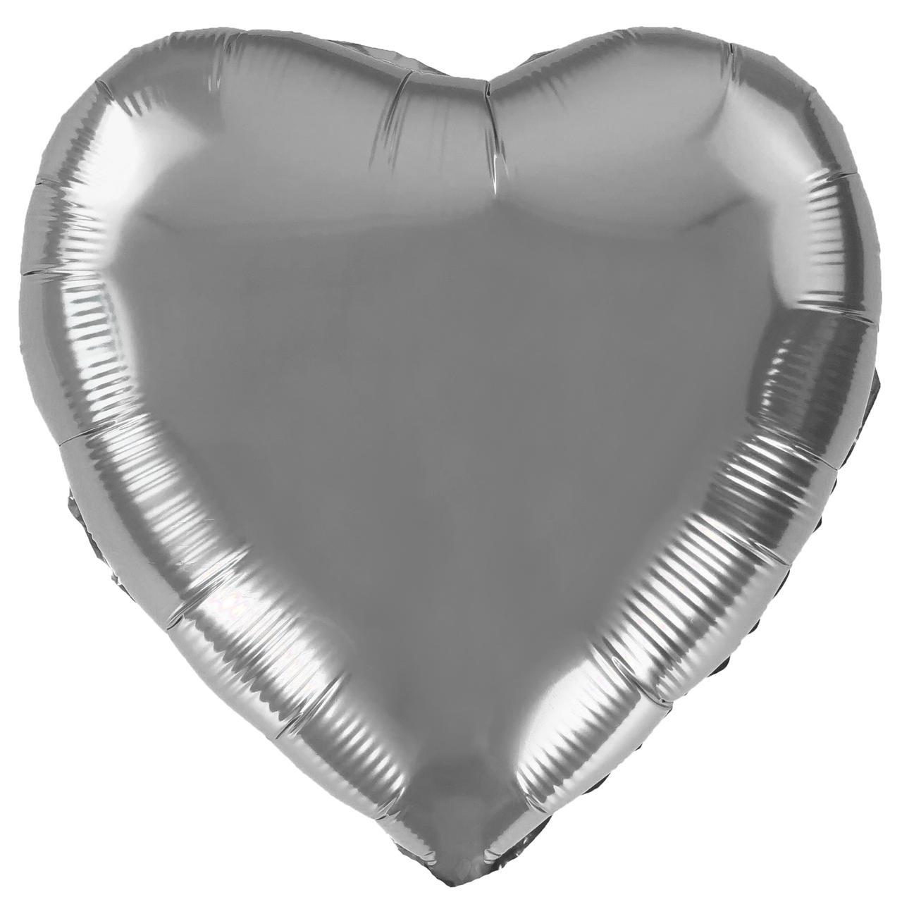 Фольгированный шар 5' Китай Сердце серебро, 12 см