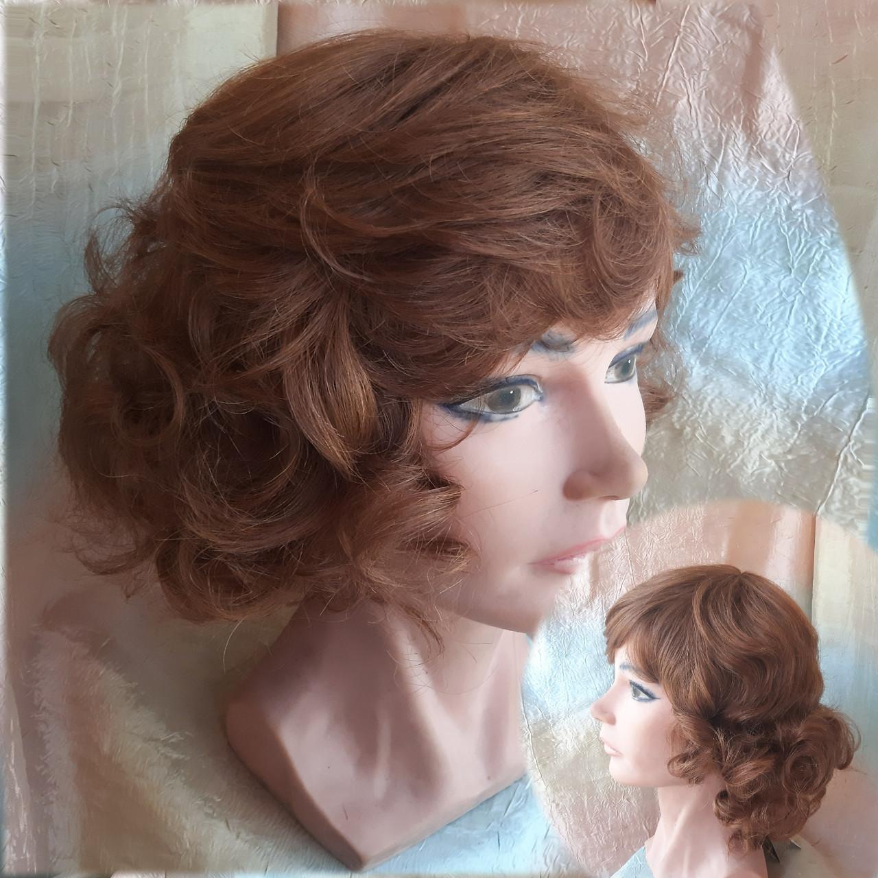 Парик из натуральных волос каскад кучерявый каштаново-медный MONRO-30