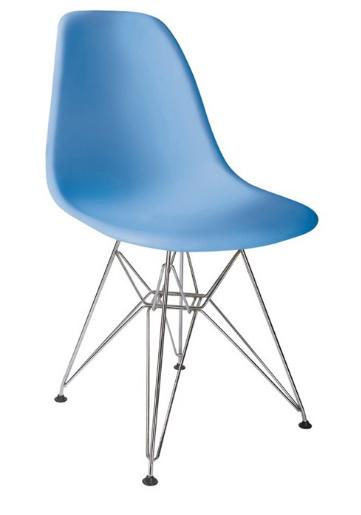 Пластиковый стул Тауэр голубой от SDM Group, хромированные ноги