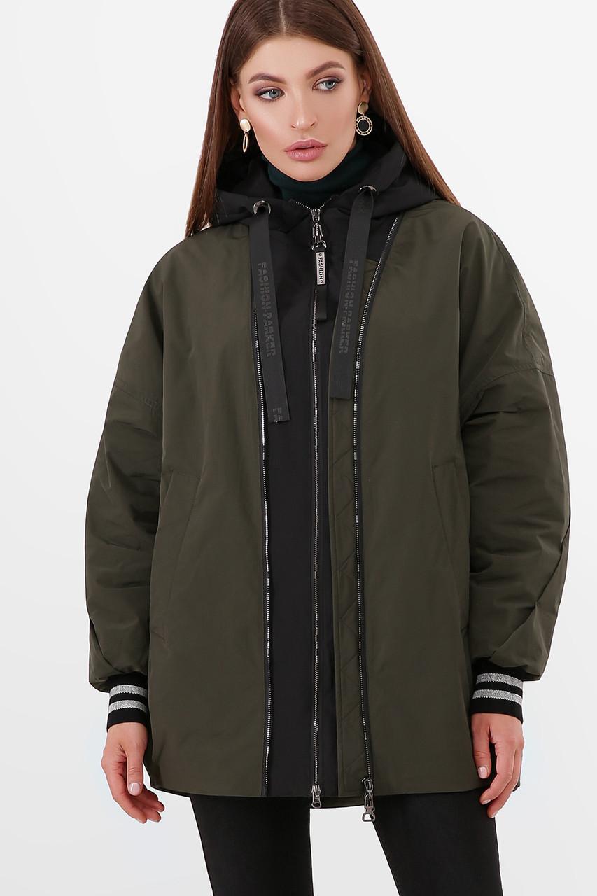 Стильная молодежная утепленная куртка оверсайз демисезонная, размер 42-46
