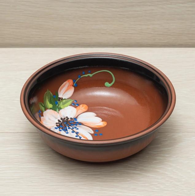 Миска - 700 мл, Коричневая, Цветы (Славянская Керамика) Глазурь