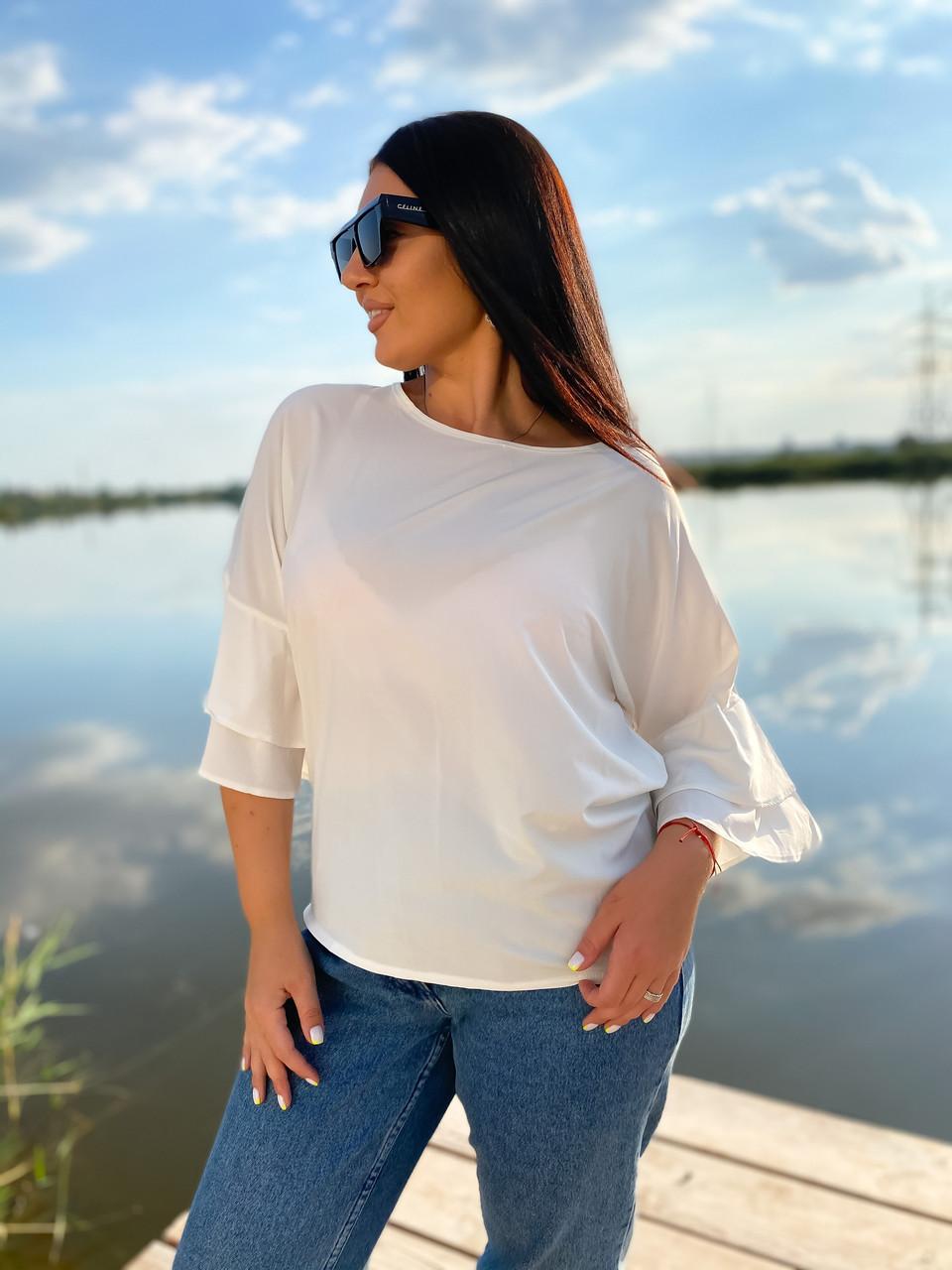 Симпатичная блуза с воланами на рукавах