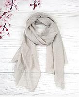 Тонкий шарф Fashion Мэри из вискозы 180*80 см горох серый