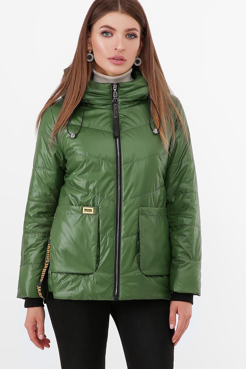 Короткая зеленая осенняя куртка женская куртка размер 44-46, 48-50
