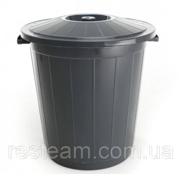 """Бак мусорный 65л """"Горизонт""""  Серый"""