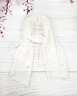 Тонкий шарф Fashion Мэри из вискозы 180*80 см горох белый