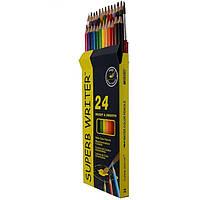 Карандаши цветные 24 цвета Marco 4120-24CB Superb Writer Aquarelle, акварельные с кисточкой.