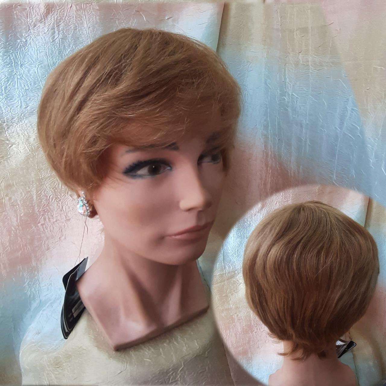 Парик из натуральных волос короткий пышный медный тициан IRENA- 30