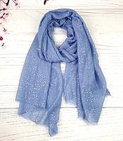 Тонкий шарф Fashion Мэри из вискозы 180*80 см горох голубой