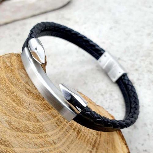 Мужской кожаный браслет для гравировки Копья Викинга 176211