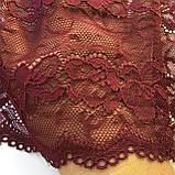 Стрейчевое (еластичне) мереживо темного вишневого кольору шириною 16 див., фото 3
