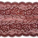 Стрейчевое (еластичне) мереживо темного вишневого кольору шириною 16 див., фото 5