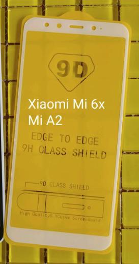 Защитное стекло 9D Xiaomi mi 6X / Xiaomi mi A2 Рамка Белая полная проклейка твёрдость 9H захисне скло ксиоми