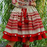 """Спідничка з плетеним поясом """"МарциПані"""" (літо) оранж 146, фото 3"""